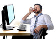alcoholic business man drunk at office with computer