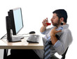alcoholic businessman drinking whiskey at office with computer