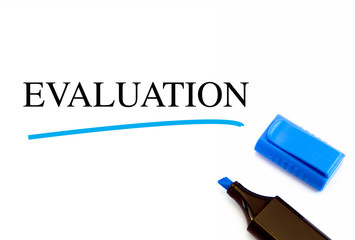 Evaluation text written on white background with blue marker