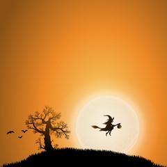 Hintergrund Halloween, Hexe, Fledermäuse, orange, quadratrisch