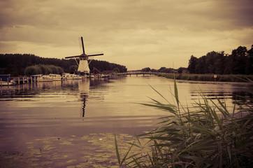 Historic Dutch windmill in Alblasserdam, Netherlands