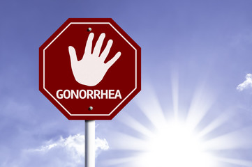Stop Gonorrhea red sign with sun background