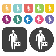 Businessman icons set. Round and rectangle colourful 12 buttons.