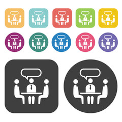 Business talk icons set. Round and rectangle colourful 12 button