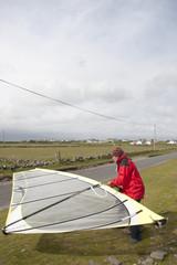 windsurfer getting ready on the wild atlantic way