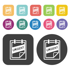 Urgent sign icons set. Round and rectangle colourful 12 buttons.