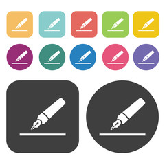 Fountain pen icons set. Round and rectangle colourful 12 buttons