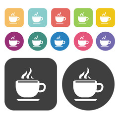 Cup of coffee icons set. Round and rectangle colourful 12 button