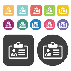 Identification card icons set. Round and rectangle colourful 12