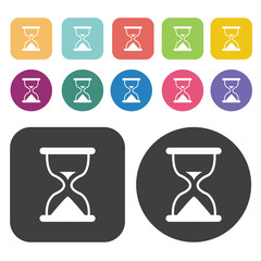 Hourglass icons set. Round and rectangle colourful 12 buttons. V