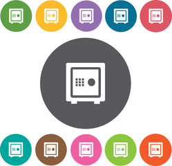 Vault icons set. Round colourful 12 buttons. Vector illustration
