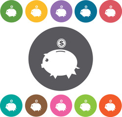 Dollar piggy bank icons set. Round colourful 12 buttons. Vector