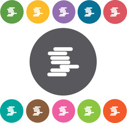 Pile of books icons set. Round colourful 12 buttons. Vector illu