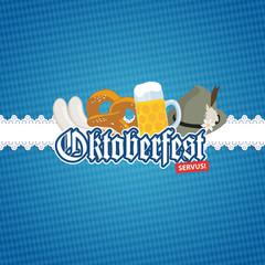 Oktoberfest O'zapft is! - Karte Card Brezel Bier Logo Nacht