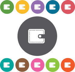 Wallet icons set. Round colourful 12 buttons. Vector illustratio