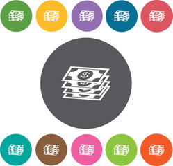Pile of dollar bills icons set. Round colourful 12 buttons. Vect