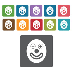 Clown face icons set. Rectangle colourful 12 buttons. Vector ill