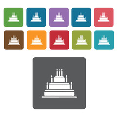 3 layer cakes set. Rectangle colourful 12 buttons. Vector illust