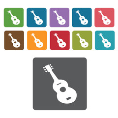 Guitar icons set. Rectangle colourful 12 buttons. Vector illustr