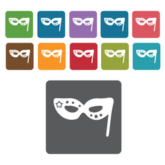 Party mask icons set. Rectangle colourful 12 buttons. Vector ill