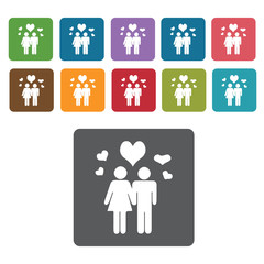 Lovers icons set. Rectangle colourful 12 buttons. Vector illustr