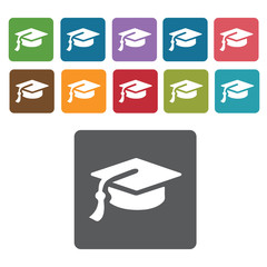 Graduation hat icons set. Rectangle colourful 12 buttons. Vector
