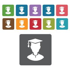 Graduation avatar icons set. Rectangle colourful 12 buttons. Vec