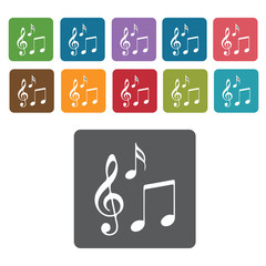 Musical notes icons set. Rectangle colourful 12 buttons. Vector