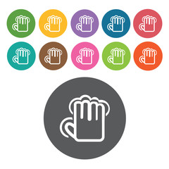 five finger tap icons set. Round colourful 12 buttons. Vector il