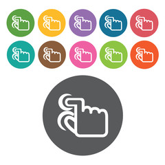 pinch tap icons set. Round colourful 12 buttons. Vector illustra