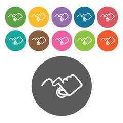 swipe tap icons set. Round colourful 12 buttons. Vector illustra