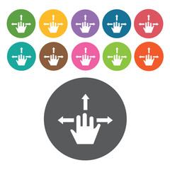 tap on direction icons set. Round colourful 12 buttons. Vector i