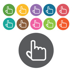 hand cursor icons set. Round colourful 12 buttons. Vector illust