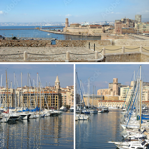 Southern France:  landmarks in Marseille, Old Port, collage - 69588748