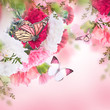 canvas print picture - Floral background of roses and butterfly, wild flowers