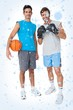 Composite image of two fit men with boxing gloves and basketball