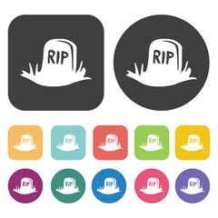 Rip icons set. Round and rectangle colourful 12 buttons. Vector