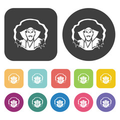 Draculas set. Round and rectangle colourful 12 buttons. Vector i