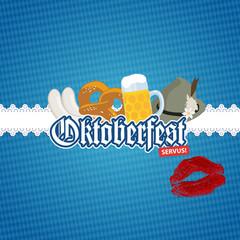 Oktoberfest O'zapft is! - Karte Card Brezel Lippen
