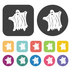 Halloween ghosts set. Round and rectangle colourful 12 buttons.