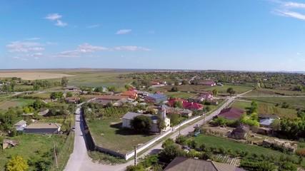 Small village in Dobrogea, Romania (aerial perspective)