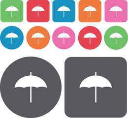 Umbrella icons set. Round and rectangle colourful 12 buttons. Ve