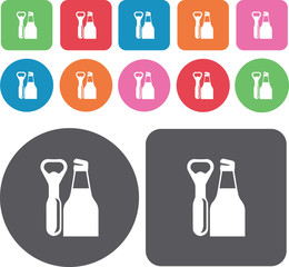 Bottle opener icons set. Round and rectangle colourful 12 button