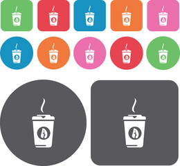 Hot tea in paper cup icons set. Round and rectangle colourful 12