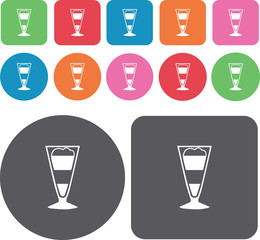 A glass of smoothie icons set. Round and rectangle colourful 12