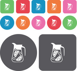 A pitcher of cold lemonade icons set. Round and rectangle colour
