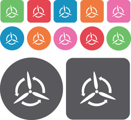 Propeller icons set. Round and rectangle colourful 12 buttons. V