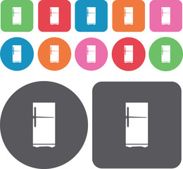 Refrigerator icons set. Round and rectangle colourful 12 buttons