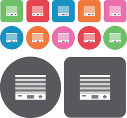 Air conditioner icons set. Round and rectangle colourful 12 butt