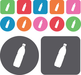 Cola bottle icons set. Round and rectangle colourful 12 buttons.